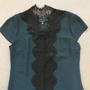 Ted Baker delicate lace front holiday party top XS